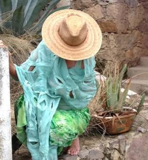 Alt view: Burned-out velvet, resist-dyed; embellished nuno-felted wrap