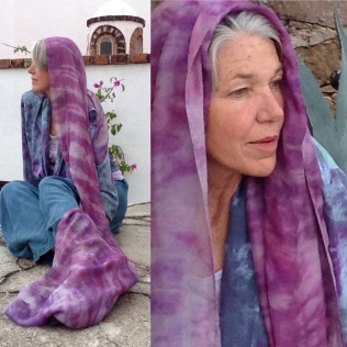 Indigo-dyed trous, hand-painted blouse and resist-dyed scarf