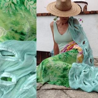 Burned-out velvet, resist-dyed; embellished nuno-felted wrap