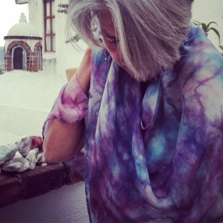 Resist-dyed and discharged silk scarf
