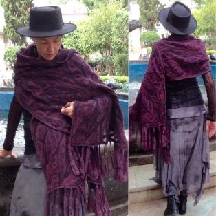 Resist-dyed silk skirt; embellished nuno-felted wrap